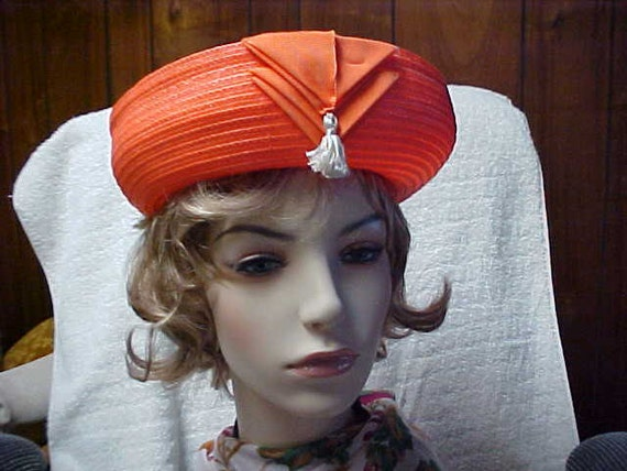 Reserved for Arpha: Orange vintage Sailor style woman's hat nice inside and out