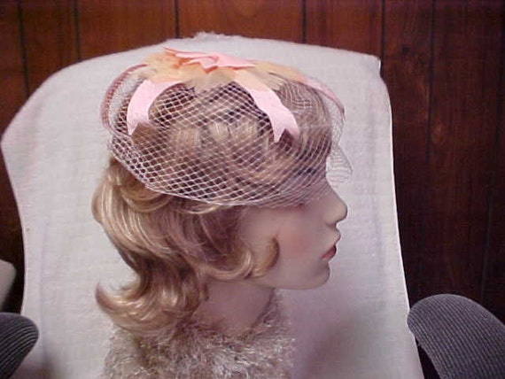 Like new-never worn vintage 50's Whimsey pink veil and ribbons hat for woman or girl