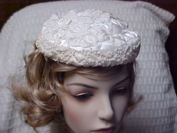 Vintage White flocked flower topped hat, for church, wedding and more