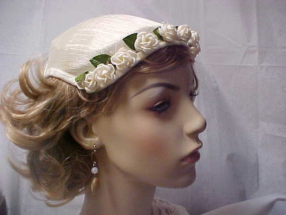 Reserved for Phoebe--White linen fascinator hat with white roses across the front