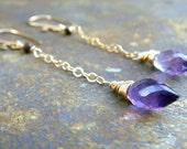 Chain Earrings 14k gold filled  wire wrapped Stone purple Amethyst / Spinel Gemstone briolette drop