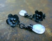 Post  Earrings  rainbow Moonstone briolette oxidized Sterling Silver AAA Gemstone  wire wrapped white