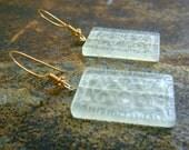 Jade Gemstone Earrings mint rectangle Stone 14k gold vermeil dangle