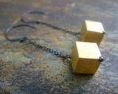 Chain Earrings oxidized Sterling Silver 24k gold matt Vermeil -  dangle Cubes
