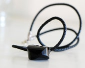 Black Leather Necklace Onyx Stone braided Leather oxidized Sterling Silver - Tribal - SALE