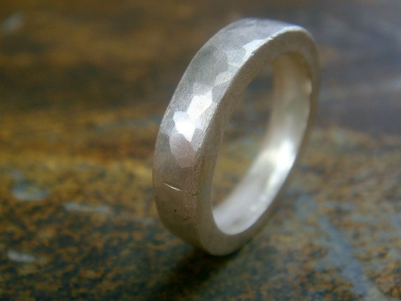 Silver Band Ring hammered 999 fine Silver Eco friendly recycled