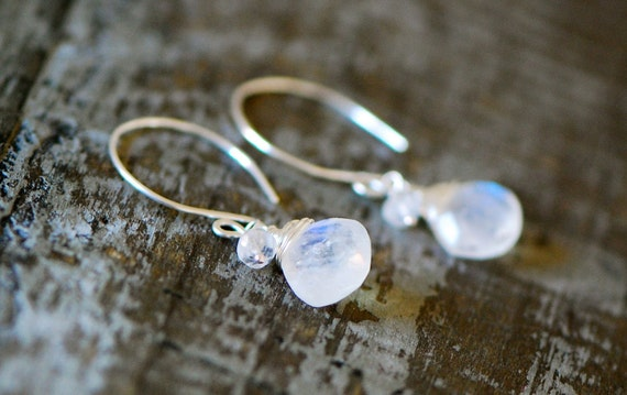 Rainbow Moonstone Earrings briolette wire wrapped faceted Gemstone Sterling Silver  - white blue flash