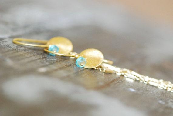 Chain Earrings Apatite Gemstone 14k gold filled 24k vermeil aqua blue stone long dangle