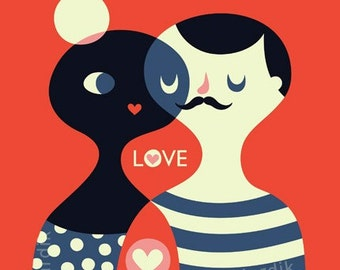 LOVE... limited edition giclee print of an original illustration (8 x 8 in, 20 x 20 cm)