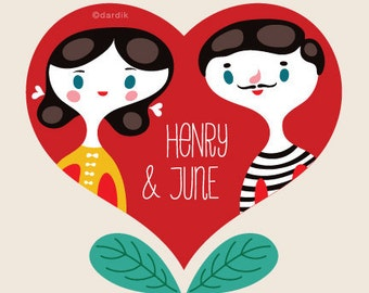 Henry & June... limited edition giclee print of an original illustration (8 x 8 in, 20 x 20 cm)