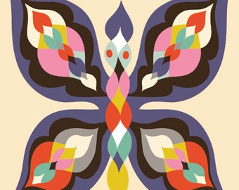 Butterfly... limited edition giclee print of an original illustration (8 x 8 in, 20 x 20 cm)