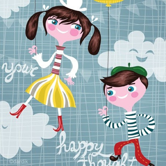 find your happy thought... limited edition giclee print of an original illustration (8.5 x 11)