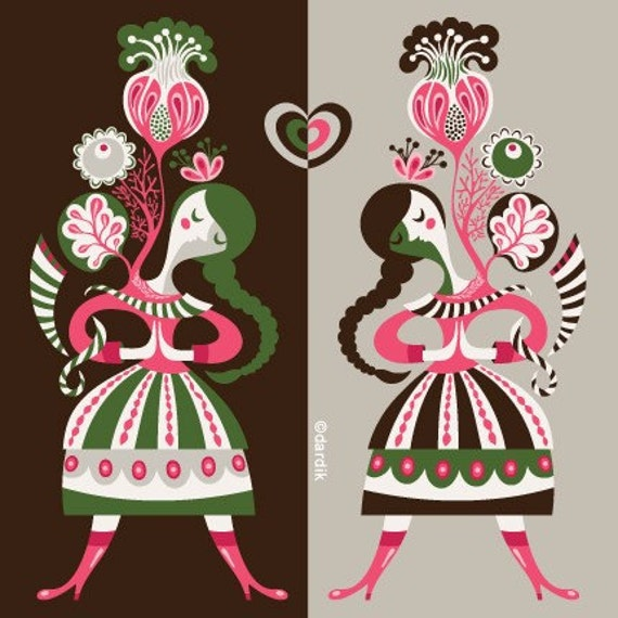 two sides of my heart... limited edition giclee print of an original illustration (8 x 8 in, 20 x 20 cm)