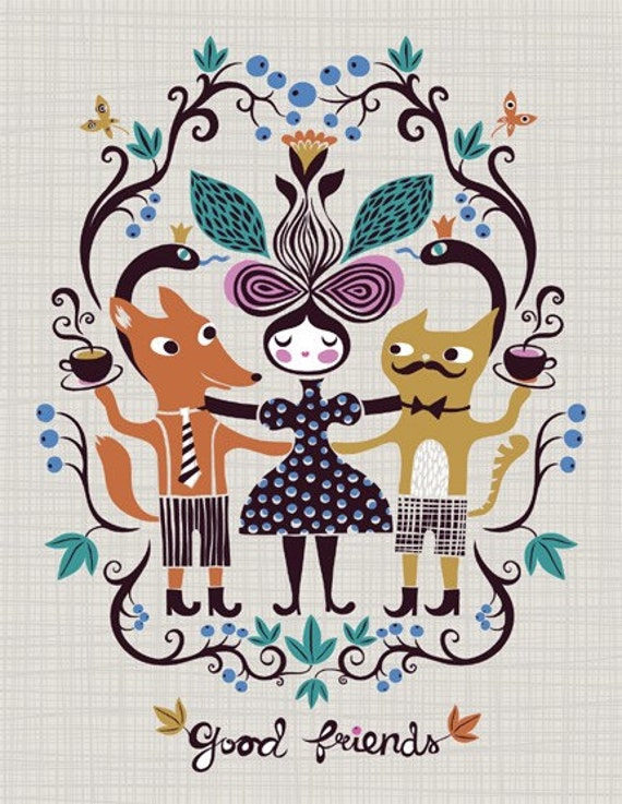 good friends... limited edition giclee print of an original illustration (8.5 x 11)