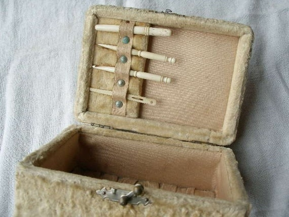 Victorian Sewing Box, with bone Bodkin, needle case, crochet hook, ribbon needle, ca 1890