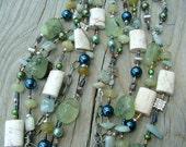 Sand And Sea Prehnite, Magnesite, Jade, Aquamarine and Bali Silver Necklace