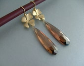Chocolate Brown Long Cubic Zirconia Drops with Matte Gold Orchid Blossoms - Earrings