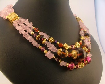 The Alexandra Vermeil, Lampwork and Crystal Three Strand Necklace - Fantasy Wedding, Renaissance Wear