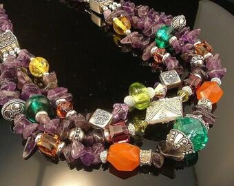 Ornate Beaded Amethyst Necklace - Bali Sterling Silver, Carnelian, Swarovski Crystal and Lampwork Handmade Beaded Necklace