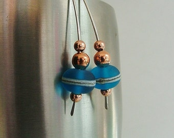 Copperberry and Adriatic Blue Lampwork Marquise Hoop Earrings