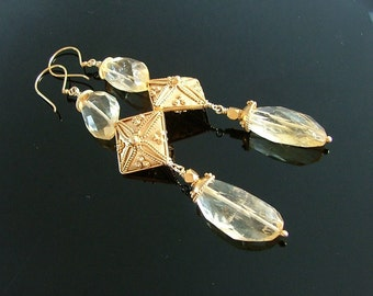 Haute Glam Citrine Nugget and Bali Vermeil Long Dangle Earrings