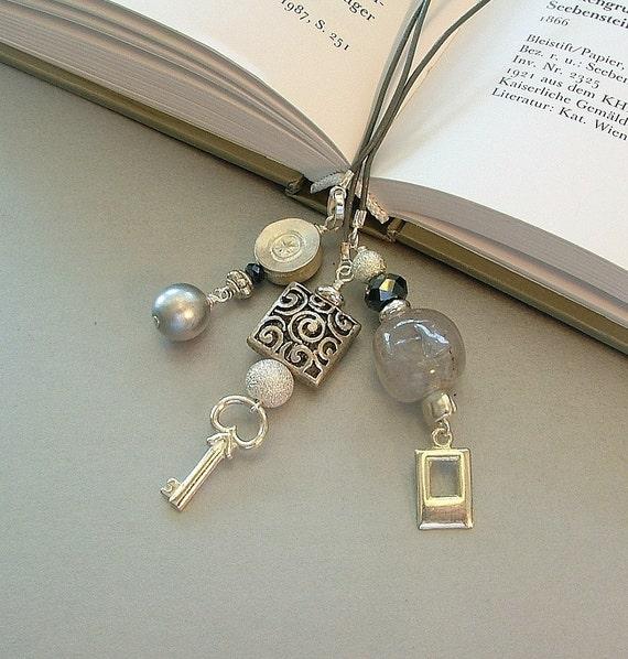 Three Strand Bookmark - Art Deco Grays, Silver, Pearl and Leather Cord Bookmark