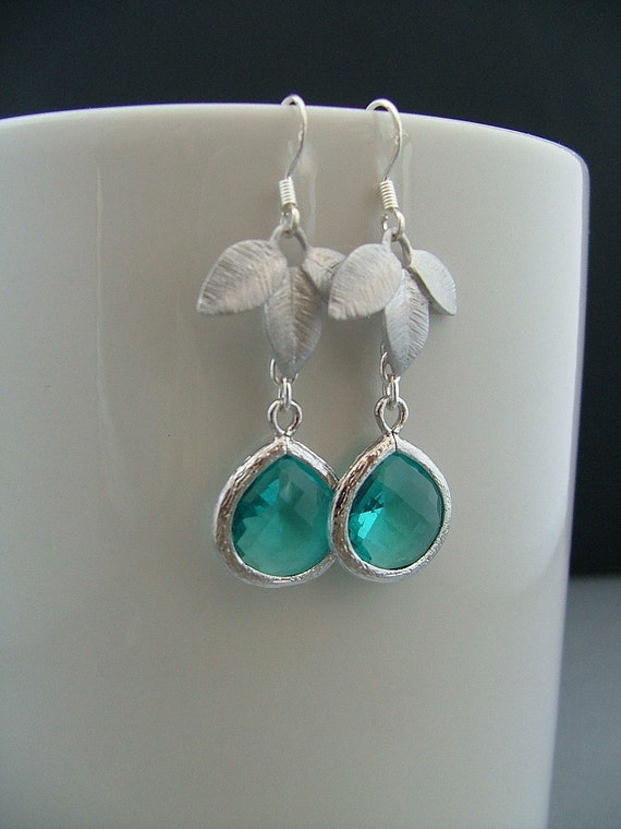 Azure Blue Sea Silver Framed Blue Glass Dangle and Tryptic Leaf Motif Earrings