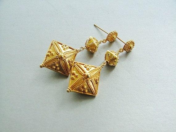 The Valentina Bali Vermeil Dangle Earrings - All Bali Vermeil Beads