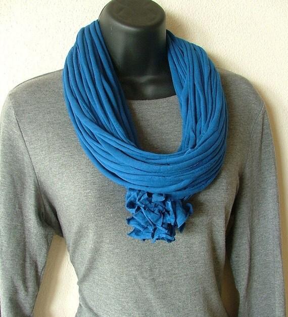 Cobalt Blue Handmade Rayon Jersey Knit Strip Scarf - Warm, Comfy, Soft Wrap Around Scarf