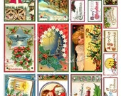 16 Christmas images in 2 sizes for personalized, homemade cards, gift tags, or anything else, in a digital collage sheet download - QCCHR01