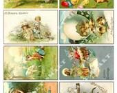8 Easter - Beautiful Vintage Scenes on a Digital Collage Sheet Download AESTR0