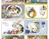 8 Bunnies hop into your heart in this colorful Antique  Digital Collage Sheet Download AESTB3