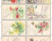 8 Flowers with Poems - Colorful Vintage Designs on a Digital Collage Sheet Download - AFLWR8