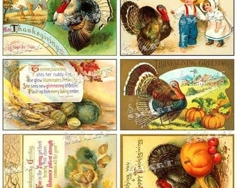 Thanksgiving Kids, Pumpkins, Turkeys-8 Colorful Vintage Images on a Collage Sheet Digital Download - ATNKS1