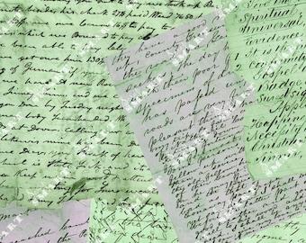 Green Letters - Full Collage Sheet Digital Download - ALETT3