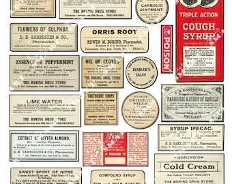25 Pharmacy Labels Antique 1850-1920 Labels on a Collage Sheet Digital Download - APHLB3
