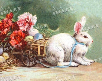 Easter bunny harnessed to Easter egg basket  - in a full collage sheet digital download - DESTB01