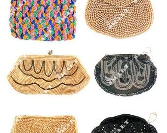 6 Vintage Purses Beaded, Crochet etc-on a Collage Sheet Digital Download - APRSE1