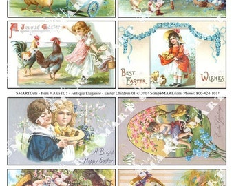 8  Children in their Easter finest - just adorable - Digital Collage Sheet Download AESTC1