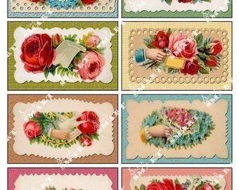 Roses and Hands-8 Antique Red and Pink Roses on a Digital Collage Sheet Download - AFLWR15