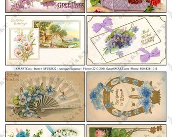 Flower Greetings-8 Vintage Designs on a Digital Collage Sheet Download - AFLWR22