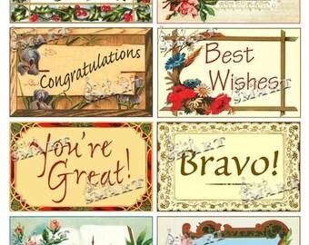 Postcards- 8 Vintage Greeting Cards on a Collage Sheet Digital Download - ACONG1