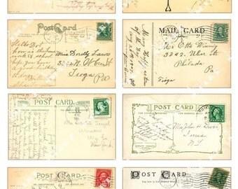 8 Postcard Backs with Vintage Messages- Old Postcards on a Collage Sheet Digital Download - APSTC1