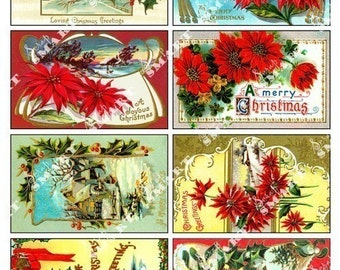 Christmas Poinsettias-8  Vintage Designs on a Digital Collage Sheet Download - AXMAS3