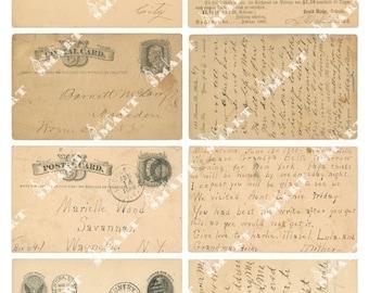 8 Old Post Cards (1850's) - Vintage Cards on a Collage Sheet Digital Download - AOPST1