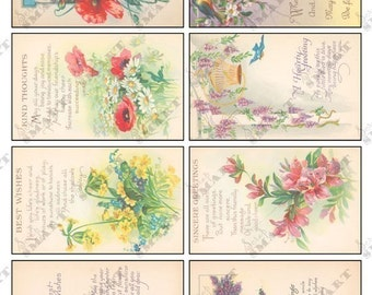 8 Flowers with Poems - Colorful Vintage Designs on a Digital Collage Sheet Download - AFLWR8