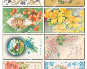 Flowers Vintage - 8 Images on a Digital Collage Sheet Download - AFLWR12