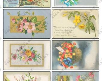 Flowers Vintage - 8 Images on a Digital Collage Sheet Download - AFLWR13
