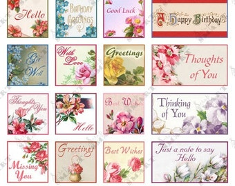 Floral Tiles-24 Designs on a Digital Collage Sheet Download - AFSEAL2