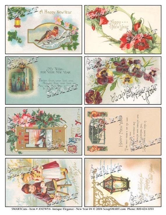New Years- 8 Celebratory Vintage Images - Lamplight, Bird, Children, Winter on a Digital Collage Sheet Download - ANEWY4